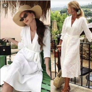 Zara off white linen belted V-neck midi dress